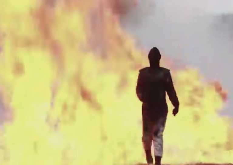 russian woman walking through explosion