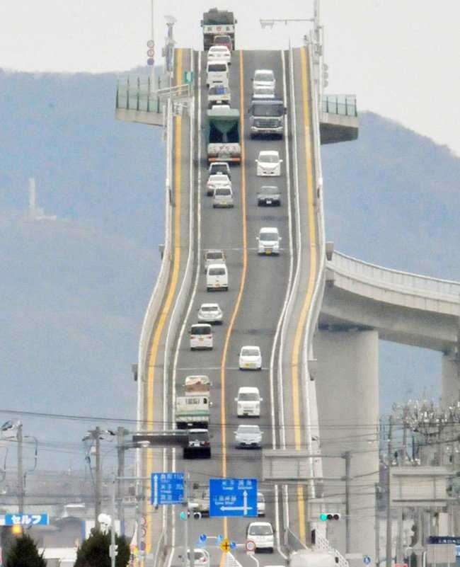 steep bridge in japan