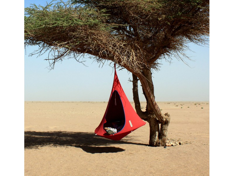 red tent in desert tree