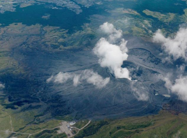 An aerial view shows an eruption of Mount Aso in Aso, Kumamoto prefecture, southwestern Japan, in this photo taken by Kyodo October 8, 2016. Mandatory credit Kyodo/via REUTERS