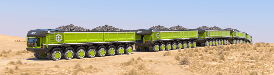 These Electric Mining Trucks Can Form Into a Single Haul Train