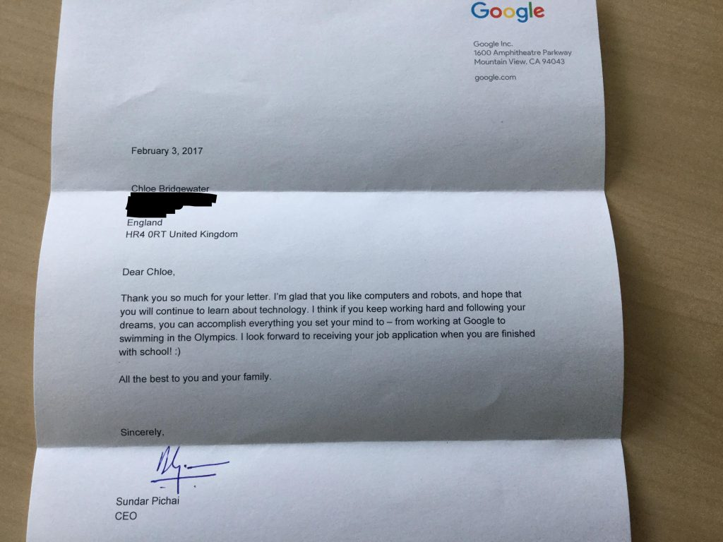 Google CEO Responds to 7-Year-Old's Letter Asking for a Job