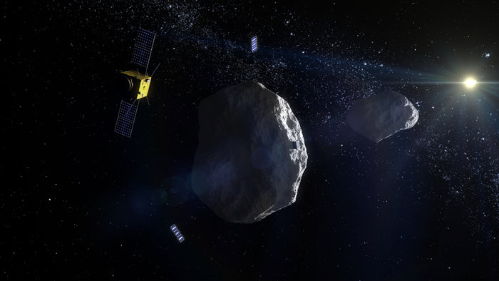 Image render of an asteroid and satellites