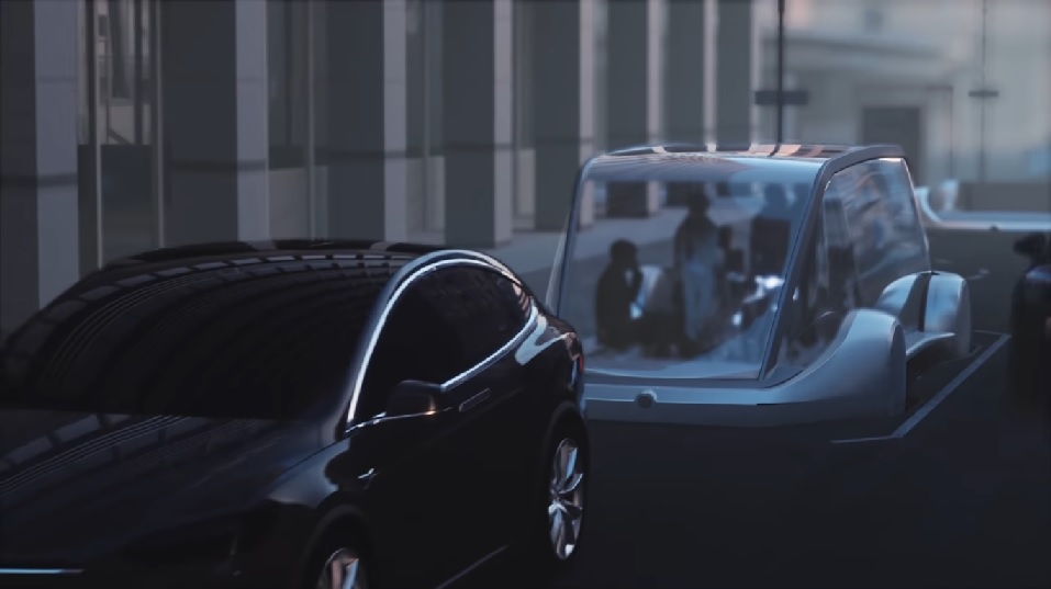 An unknown futuristic vehicle from the latest Boring Company video