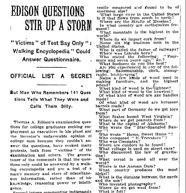 Edison's published intelligence test from the New York Times in May 1921.