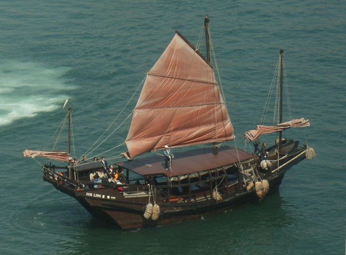 Modern version of a junk ship in Hong Kong