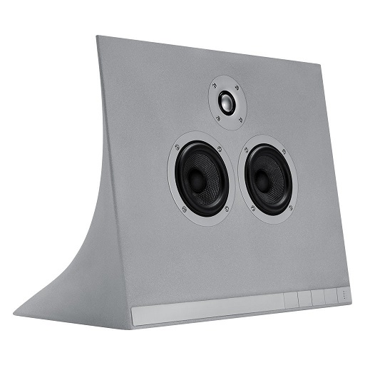 Grey concrete speakers
