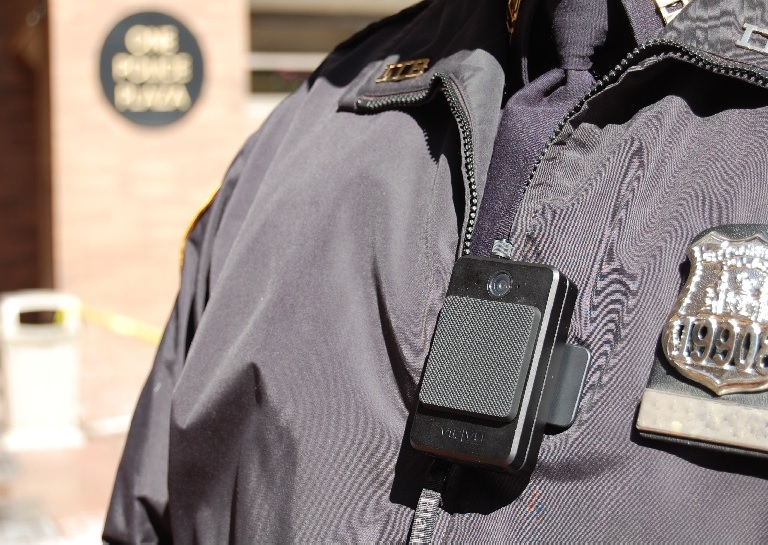 NYPD officer wearing a body camera