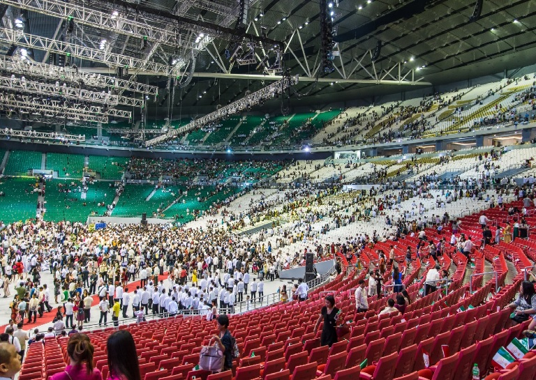 Inside the Philippine arena with a seating capacity of 55,000