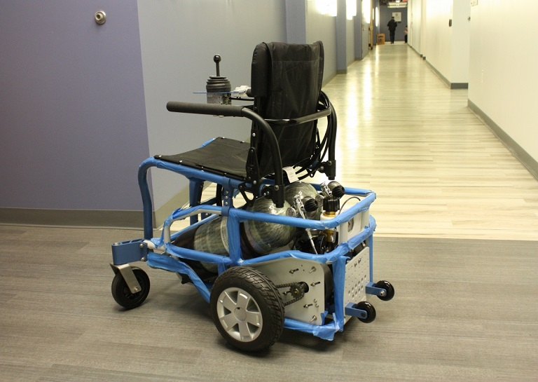 A wheelchair powered by compressed air using a pneumatic tank