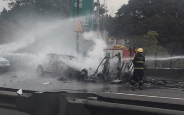 Tesla Model X car burnt after being in flames