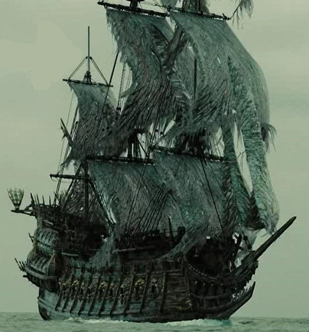 The ghostly Flying Dutchman ship