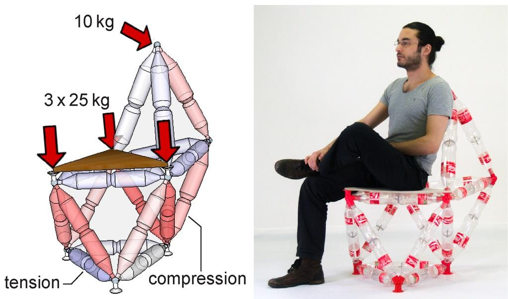 Chair made out of bottles and 3D printed materials