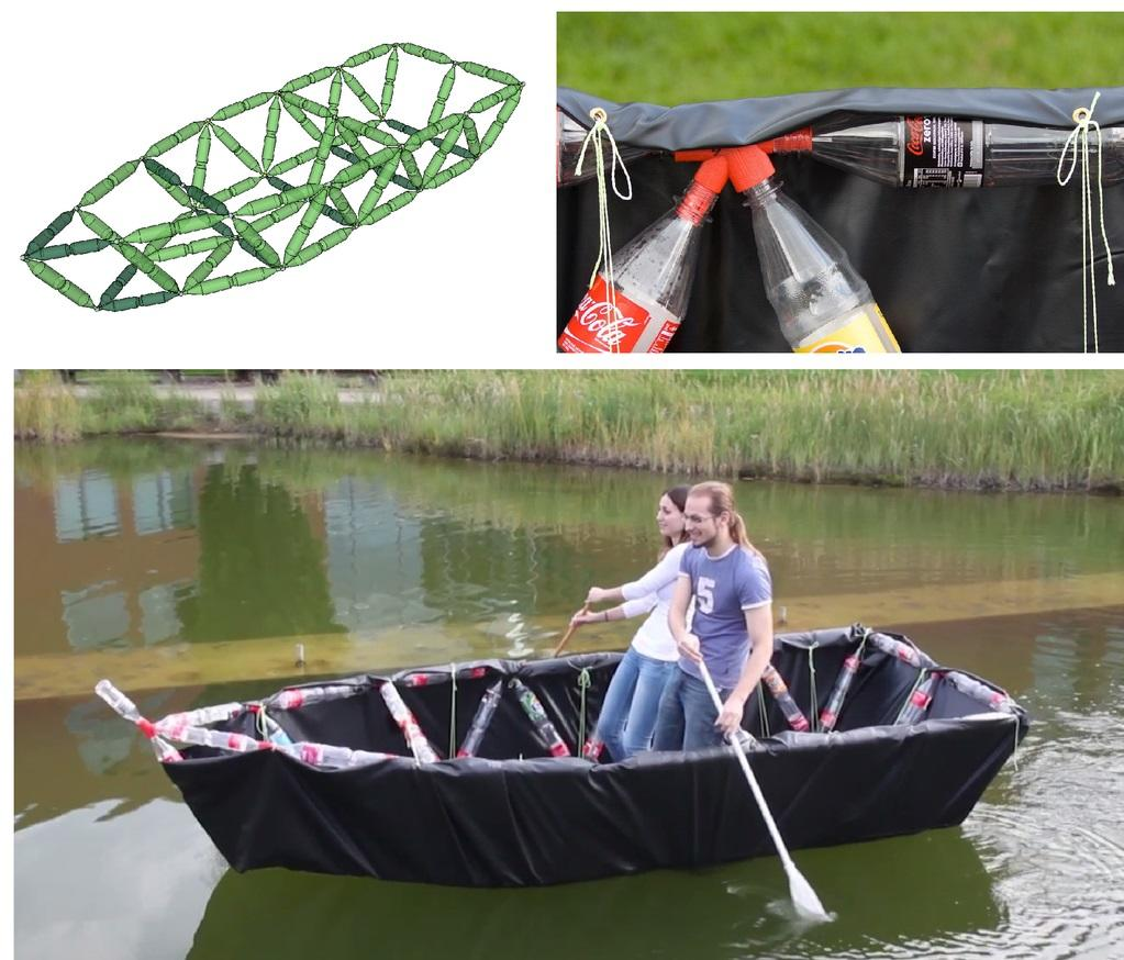 A two-seater boat made out of bottles and designed by TrussFab