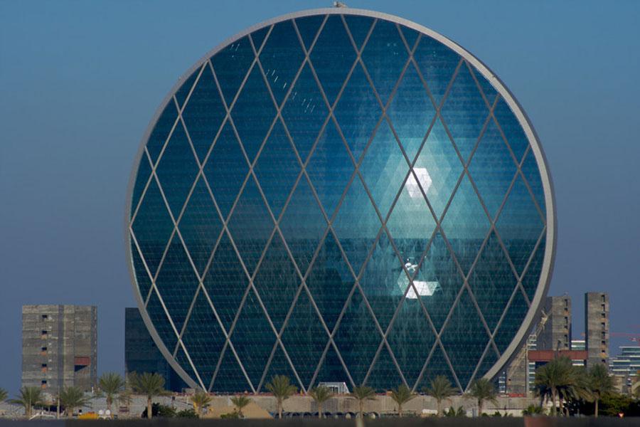 Lattice glass facade in Abu Dhabi - Aldar Headquarters
