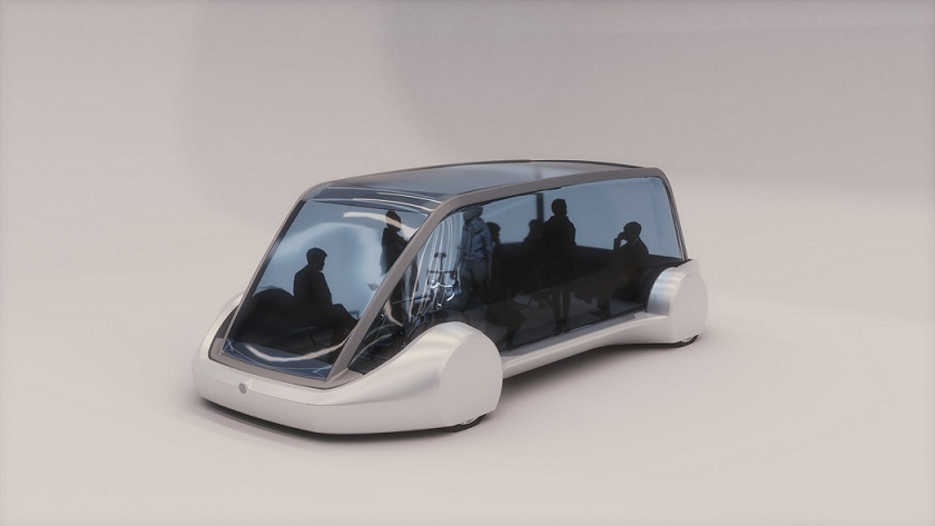 Futuristic communal vehicle by Elon Musk