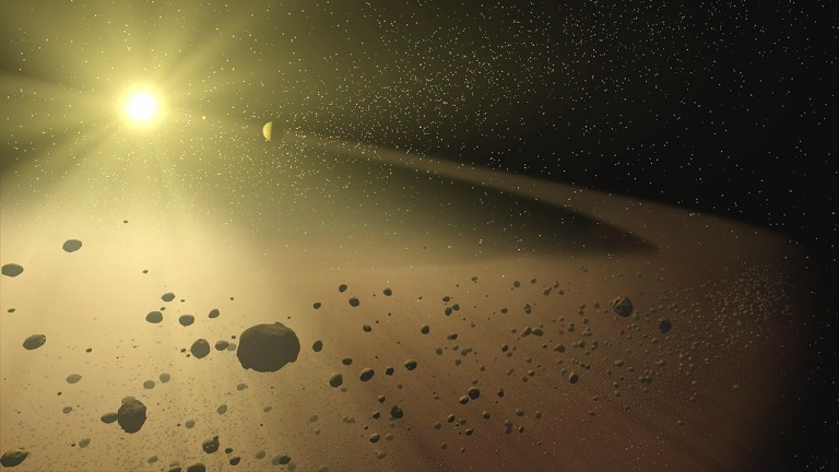 hypothetical solar system with bright star