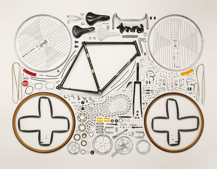 Disassembled bicycle