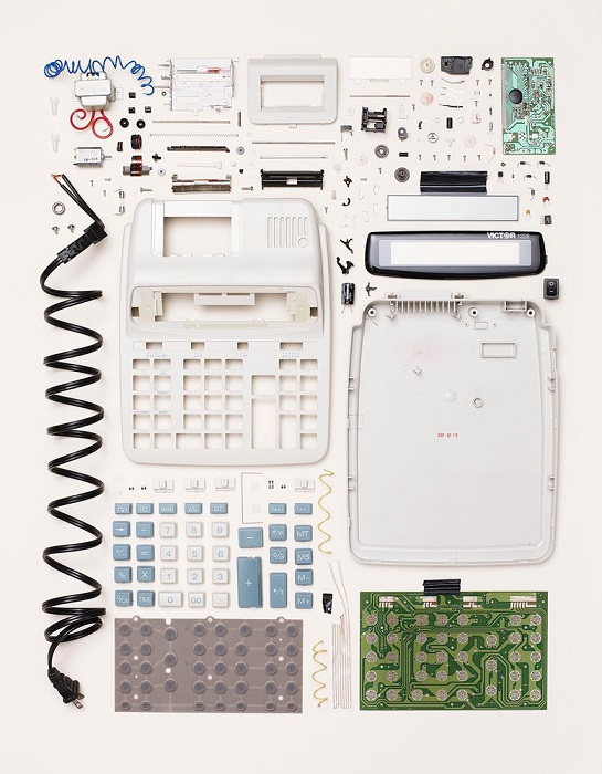 Disassembled calculator