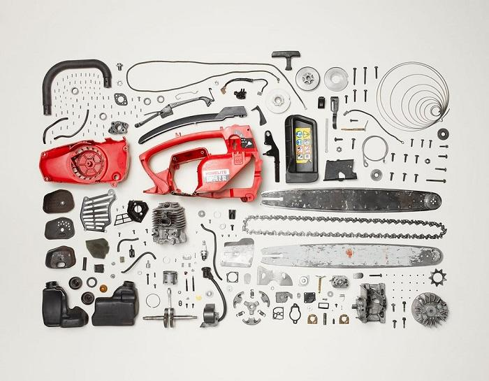 Disassembled chainsaw