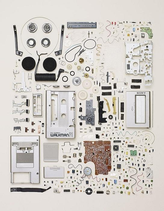 Disassembled walkman or cassette player