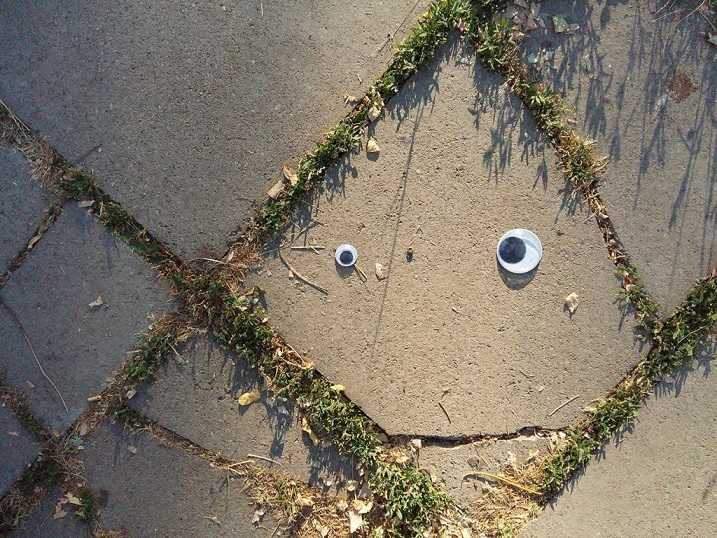 Street pavement tile with googly eyes