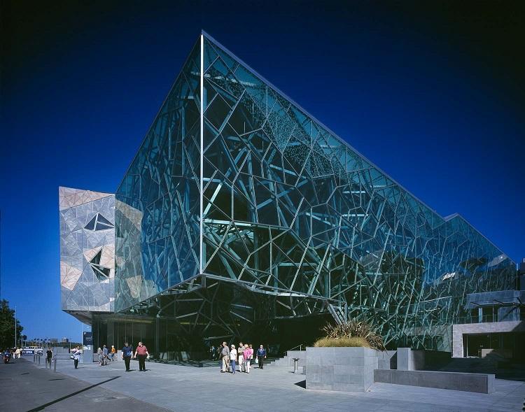 Unique glass facade structure in Melbourne