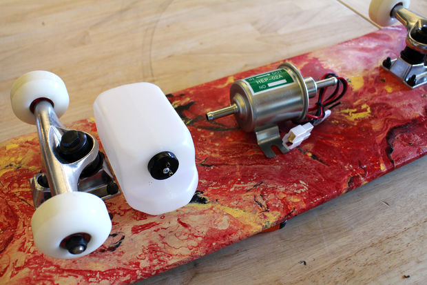 skateboard with flamethrower materials