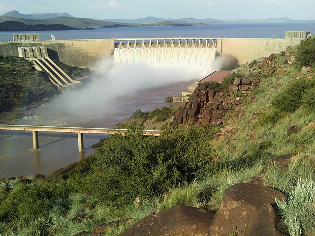 Water splurging out of Gariep dam