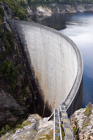 Gordon dam and Lake Gordon in Tasmania, Australia