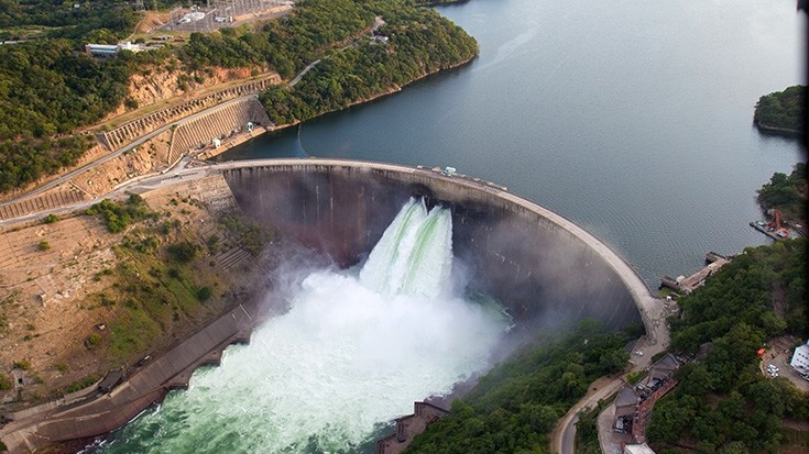 Kariba dam in Africa splurging water out