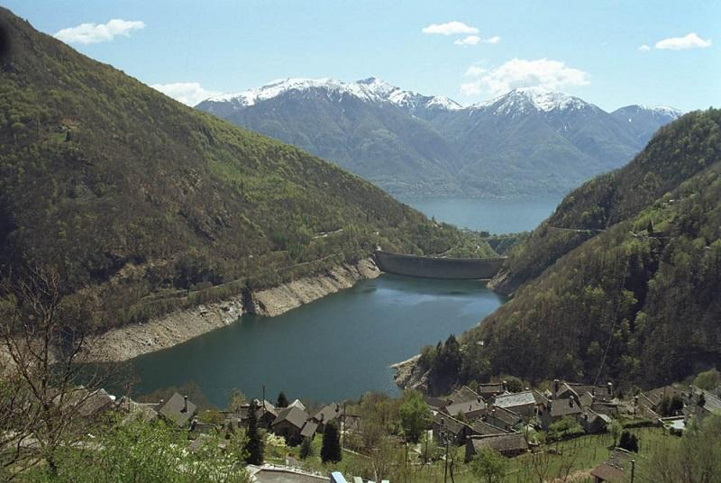 Lago di Vogorno reservoir behind the Contra dam