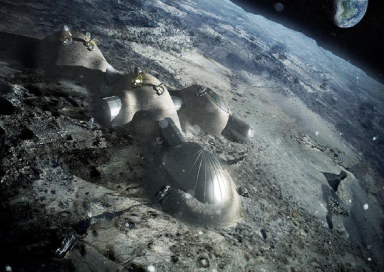 lunar multi-dome base made of 3D printed bricks