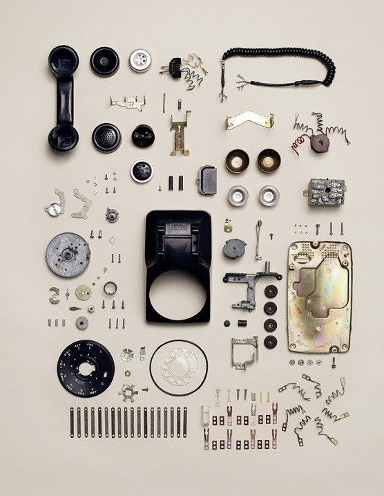 Disassembled wired landline phone