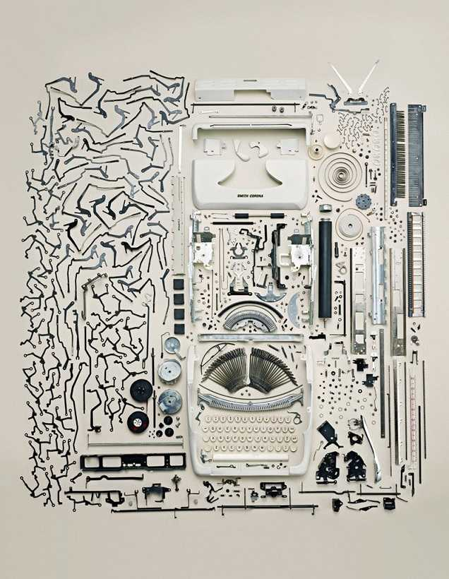 Disassembled typewriter