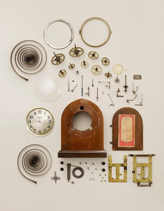 Disassembled wind-up clock