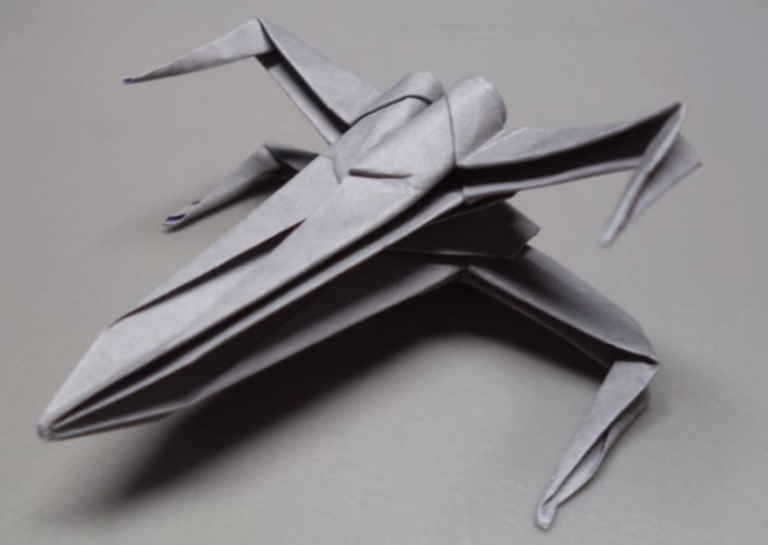 Starwars X-wing starfighter origami tutorial