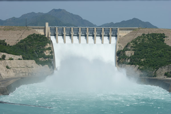 Tarbela dam releasing a large volume of water