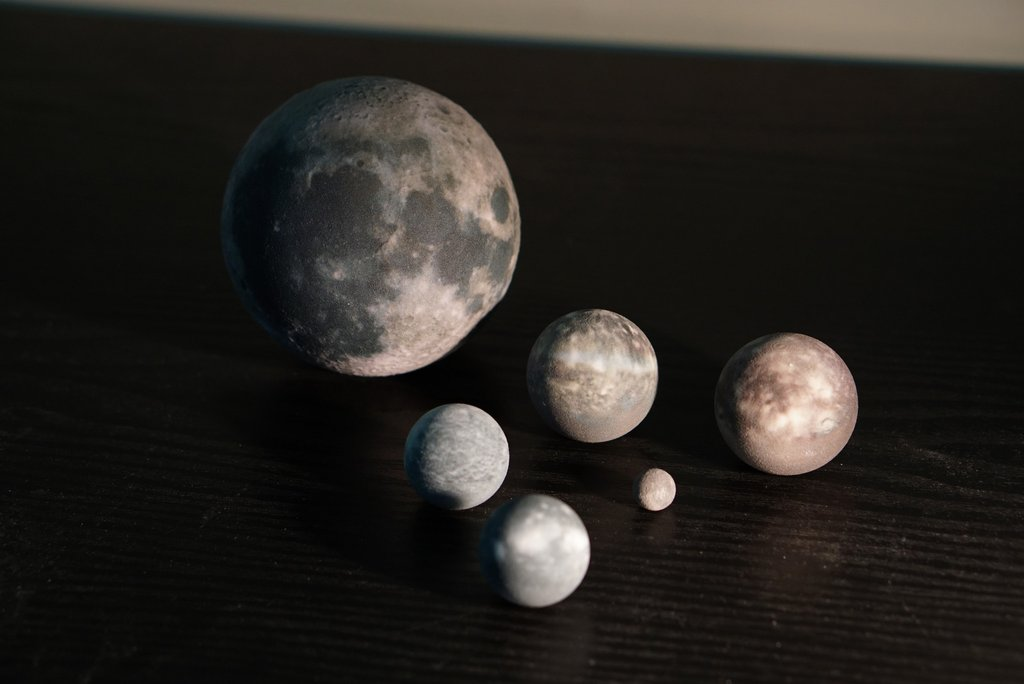 3D printed version of the 5 moons of Uranus