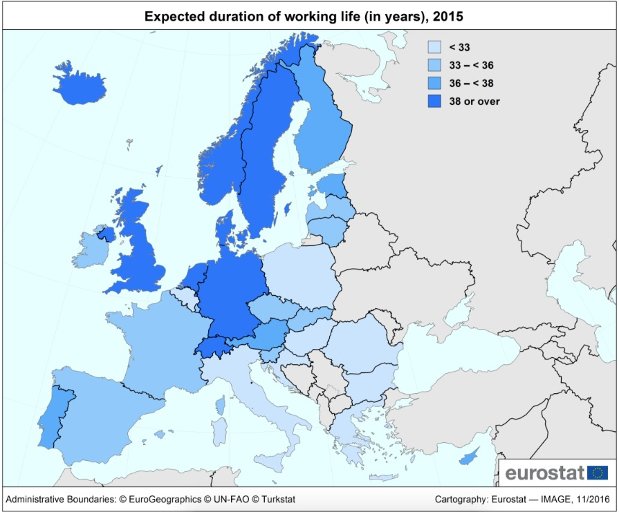 Who Has the Longest Duration of Working Life Across Europe?