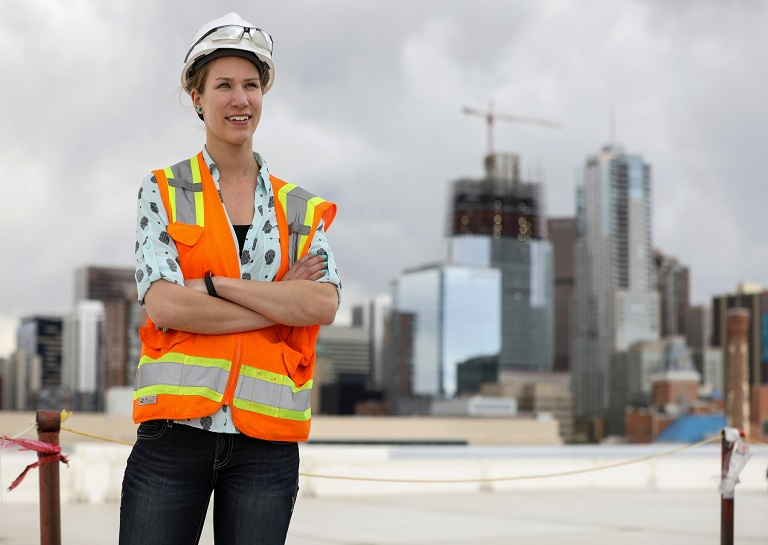 Allison Kassian standing on a building site