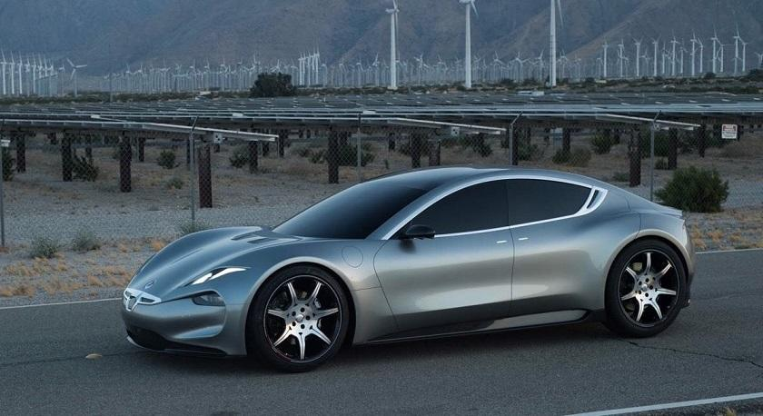 The Fisker EMotion in front of a wind farm background