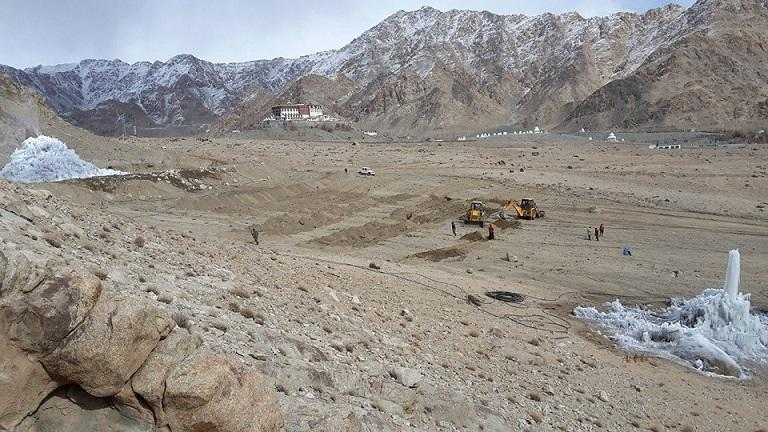Ladakh desert where Ice Stupa glaciers are being built
