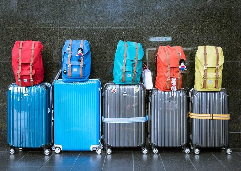 Suitcases lined up