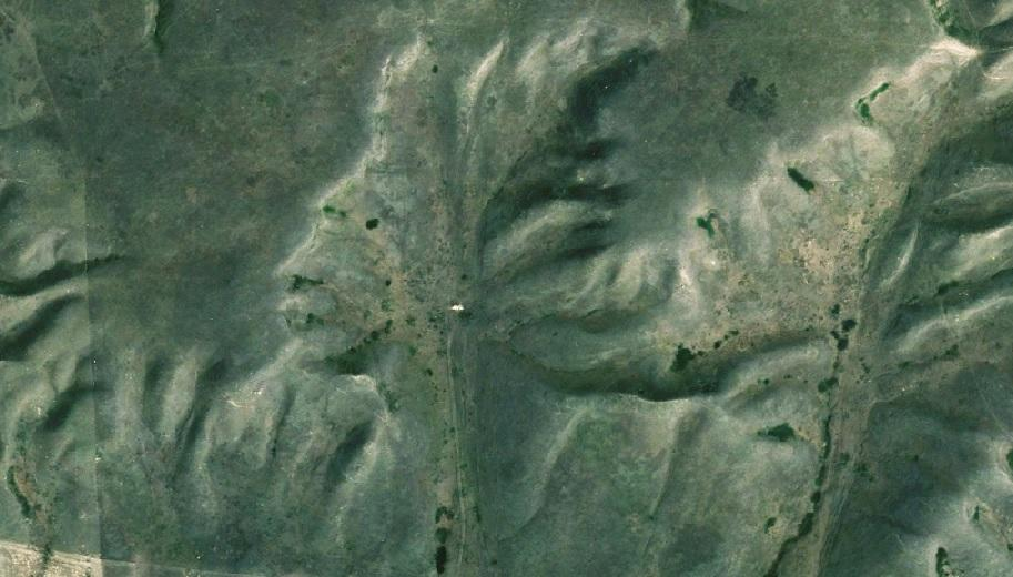 Badlands Guardian in Canada from Google Earth