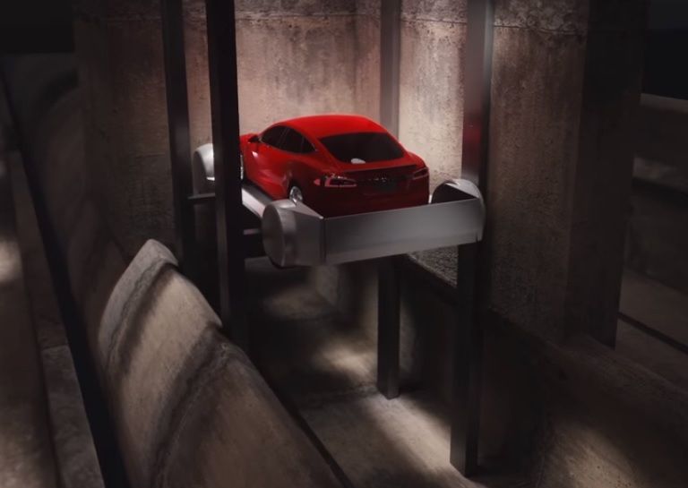 Boring tunnel's car elevator