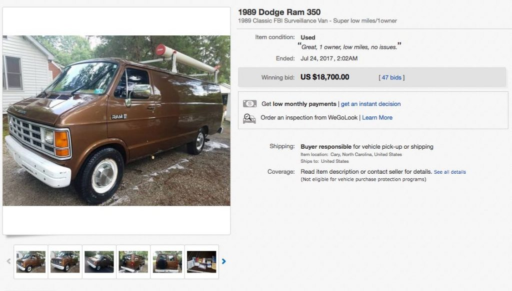 This Vintage FBI Surveillance Van Just Sold for Almost $19,000 on eBay