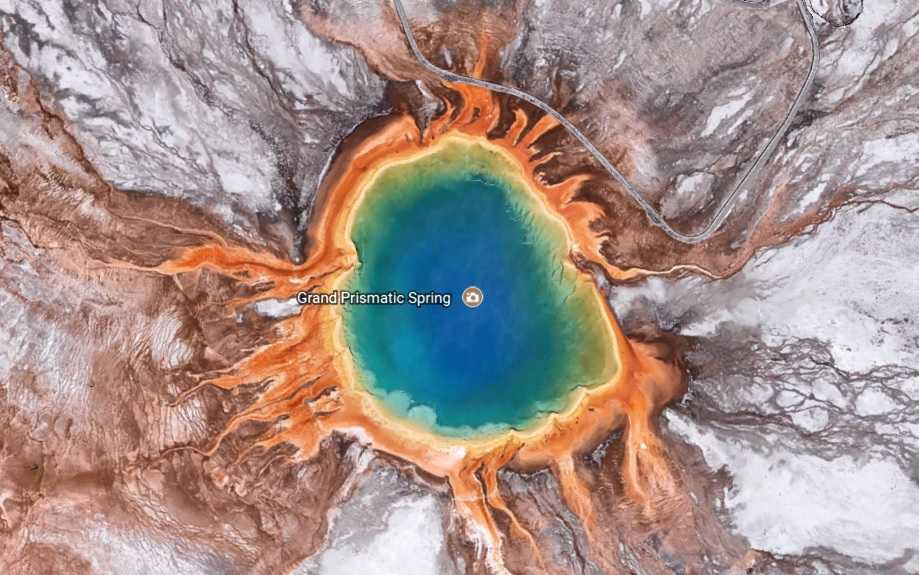 Grand Prismatic Spring from Google Earth