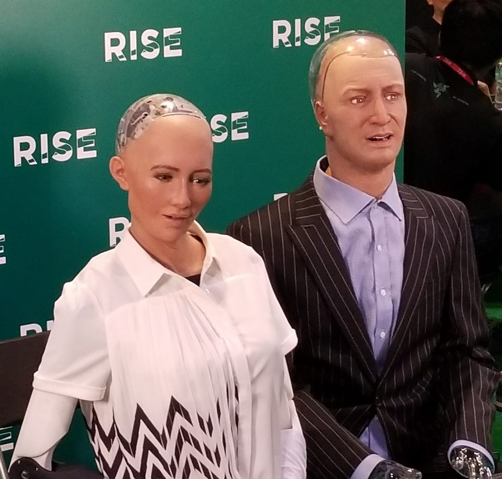 Two Humanoid Robots Discuss the Fate of Humanity