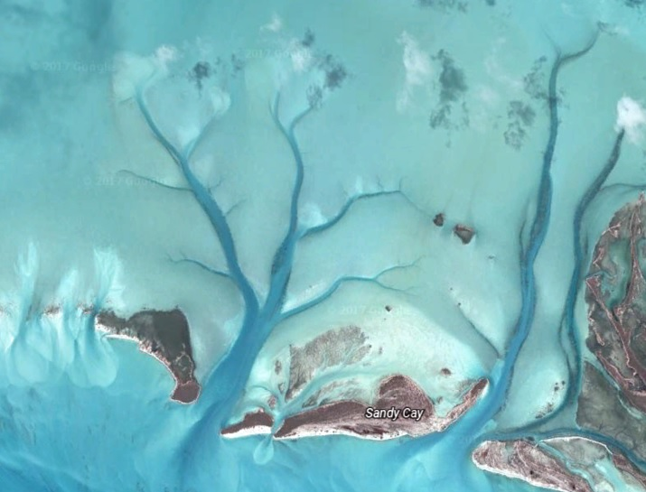 Long Islands, the Bahamas from Google Earth
